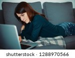 woman at home  relax or stress | Shutterstock . vector #1288970566
