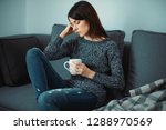 woman at home  relax or stress | Shutterstock . vector #1288970569