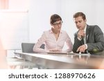mid adult business colleagues... | Shutterstock . vector #1288970626