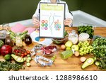 dietitian showing a scheme with ... | Shutterstock . vector #1288986610