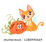 cute red cat  sitting next to... | Shutterstock . vector #1288990669