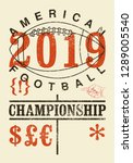american football typographical ... | Shutterstock .eps vector #1289005540