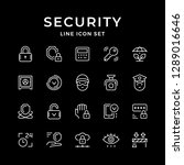 set line icons of security... | Shutterstock . vector #1289016646