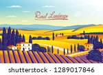 rural landscape with farms ... | Shutterstock .eps vector #1289017846