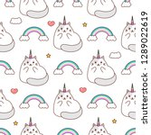 cats pattern  unicorn cat and... | Shutterstock .eps vector #1289022619