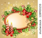 christmas card with burning... | Shutterstock . vector #128903153