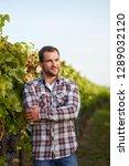young winemaker in vineyard... | Shutterstock . vector #1289032120