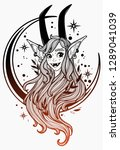 faun girl on the background of... | Shutterstock .eps vector #1289041039