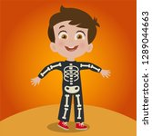 child disguised as skeleton | Shutterstock .eps vector #1289044663