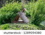Roof House For Geese. Wooden...