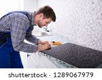 side view of a young repairman... | Shutterstock . vector #1289067979