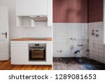 built in kitchen  before and... | Shutterstock . vector #1289081653