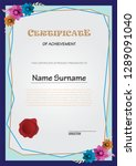 certificate with flower... | Shutterstock .eps vector #1289091040
