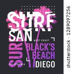 surf california t shirt and... | Shutterstock .eps vector #1289097256