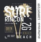 surfing artwork. surf... | Shutterstock .eps vector #1289097259