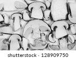 Slices Of Mushrooms  Black White