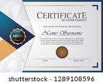 certificate elegant blue | Shutterstock .eps vector #1289108596