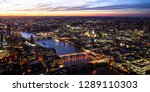 bird's eye view over london... | Shutterstock . vector #1289110303