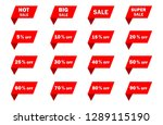 set of red sale icon banners in ... | Shutterstock .eps vector #1289115190