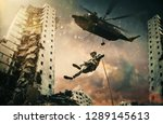 military forces and helicopter... | Shutterstock . vector #1289145613