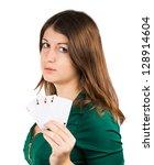 beautiful young girl in casino... | Shutterstock . vector #128914604
