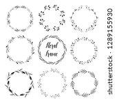 set of floral feminine round... | Shutterstock .eps vector #1289155930