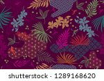 seamless pattern with tropical... | Shutterstock .eps vector #1289168620