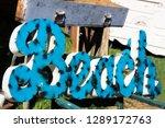 beach sign for sale at a flea...   Shutterstock . vector #1289172763