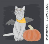 cat with pumpkin | Shutterstock .eps vector #1289184223