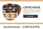 Stock vector modern view coffee house illustration barista guy entrepreneur at counter make hot beverage with 1289191996