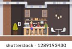 Stock vector coffe shop interior espresso and cupcake bar with barista character modern cafeteria with room 1289193430