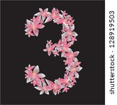 number three made by flowers. 3 ... | Shutterstock .eps vector #128919503