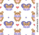 hearts pattern with teddy bear | Shutterstock .eps vector #1289197033