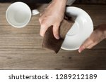 close up woman hand cleaning... | Shutterstock . vector #1289212189