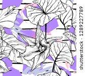 tropical  stripe  animal motif. ... | Shutterstock .eps vector #1289227789