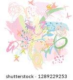 abstract scribble doodle... | Shutterstock .eps vector #1289229253