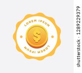 gold coin sticker badge with... | Shutterstock .eps vector #1289229379
