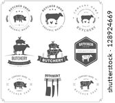 set of butcher shop labels and... | Shutterstock .eps vector #128924669