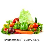 fresh vegetable isolated on... | Shutterstock . vector #128927378