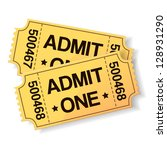 pair of yellow cinema tickets... | Shutterstock .eps vector #128931290