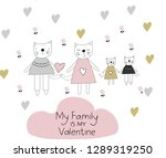 valentine's day card with cats... | Shutterstock .eps vector #1289319250
