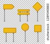 yellow road signs. blank... | Shutterstock .eps vector #1289340883