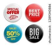 sales pin badges. circled... | Shutterstock .eps vector #1289340886