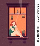 girl at window with coffee.... | Shutterstock .eps vector #1289340913