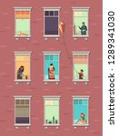windows with people. opened... | Shutterstock .eps vector #1289341030