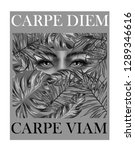 carpe diem monochrome slogan...   Shutterstock .eps vector #1289346616