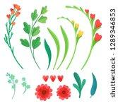 set of vector flower elements.... | Shutterstock .eps vector #1289346853