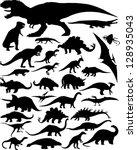 dinosaur silhouettes | Shutterstock .eps vector #128935043