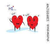 cartoon hearts funny and cute...   Shutterstock .eps vector #1289351749
