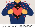 a man opens his chest showing a ... | Shutterstock .eps vector #1289366560